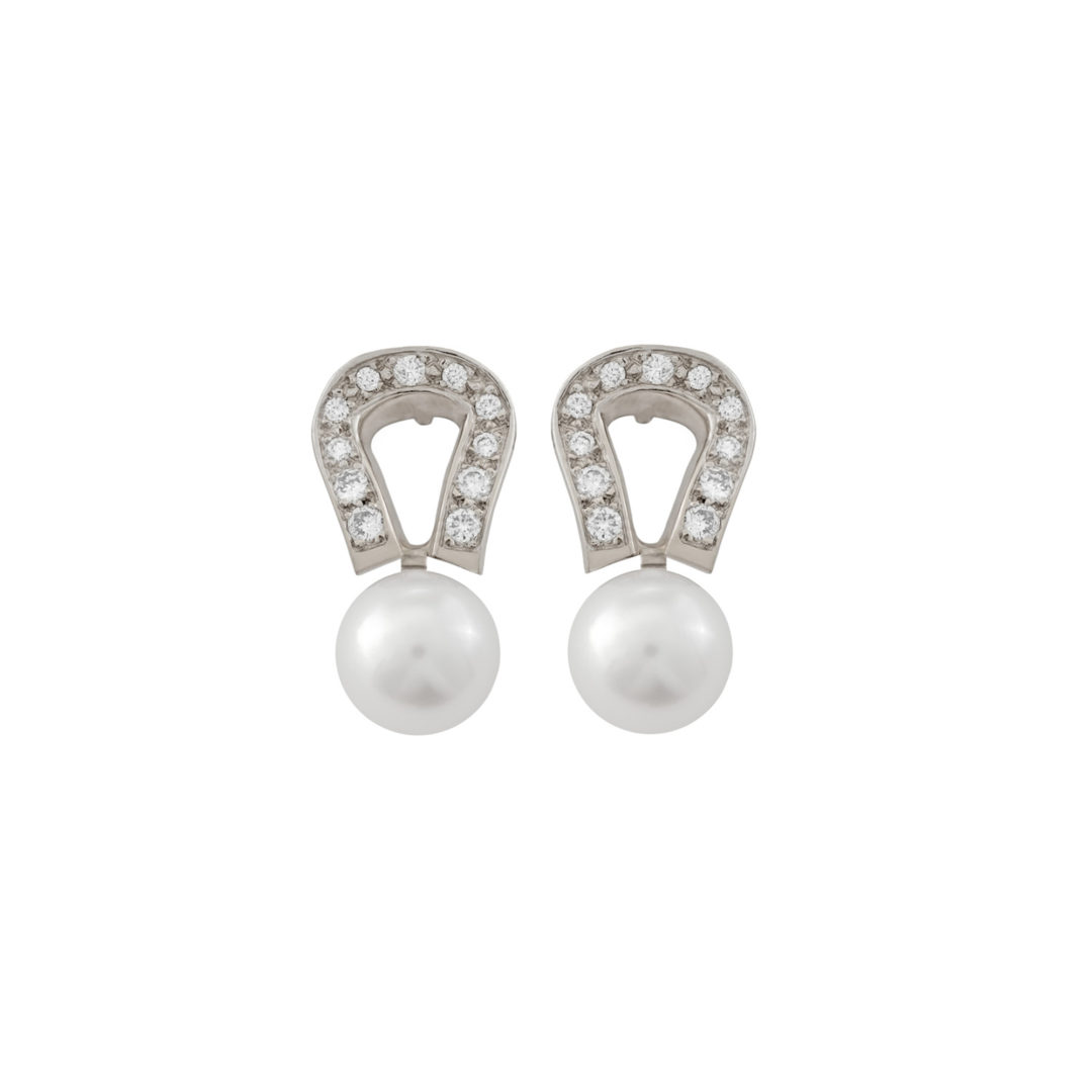 Boucle d'oreille en or blanc et perle de culture serti de diamants - Collection Origine Ateliers Biarritz