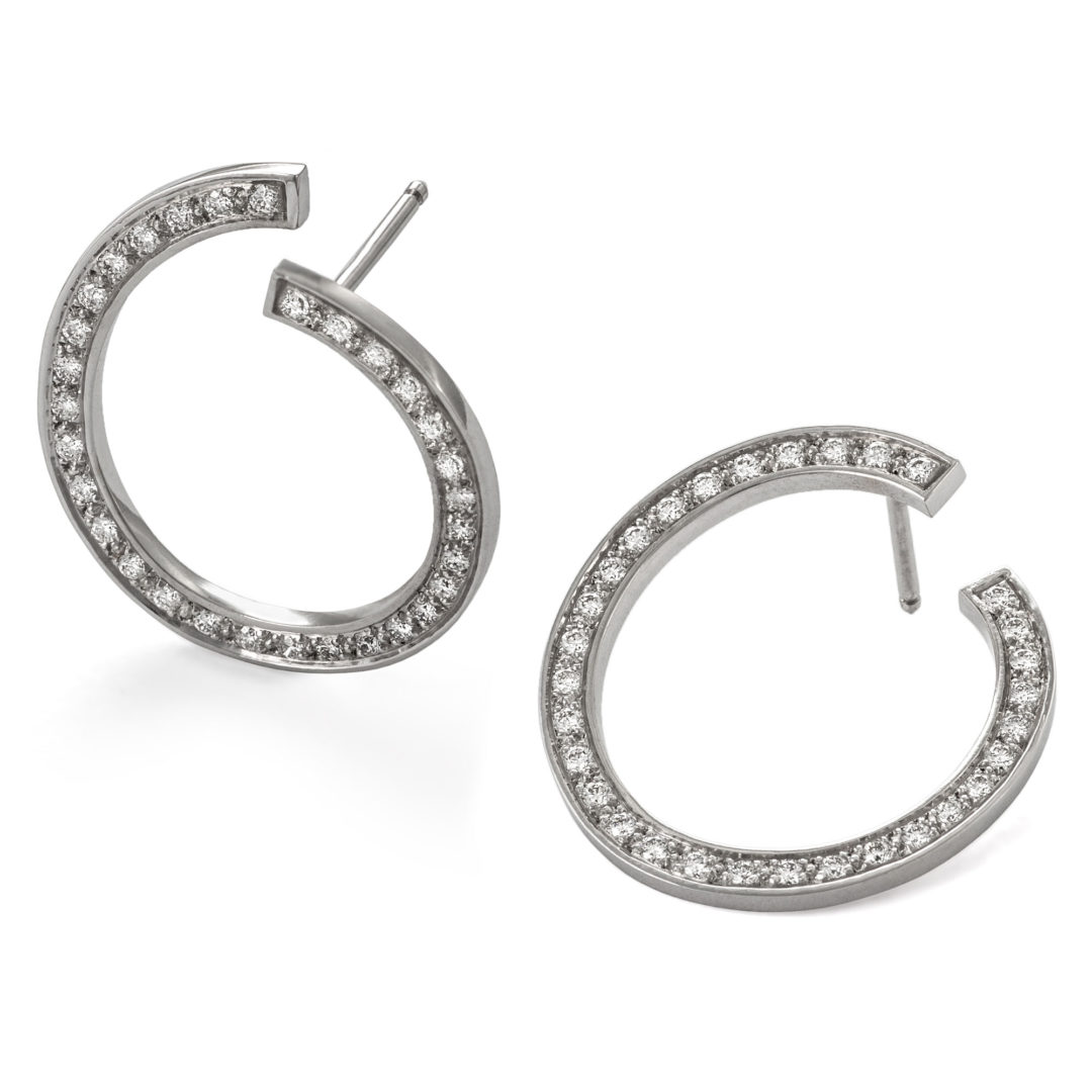 "Boucle d'oreille en or blanc serti de diamants - Collection ""Origine Ateliers"" Bijouterie Biarritz"